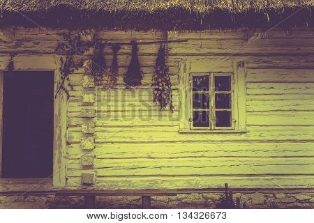 Vintage House in Sepia Colors. Vintage Log House in Lesser Poland Europe.