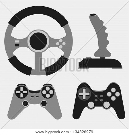 Joystick flat icons set, Video game, console play - Vector illustration