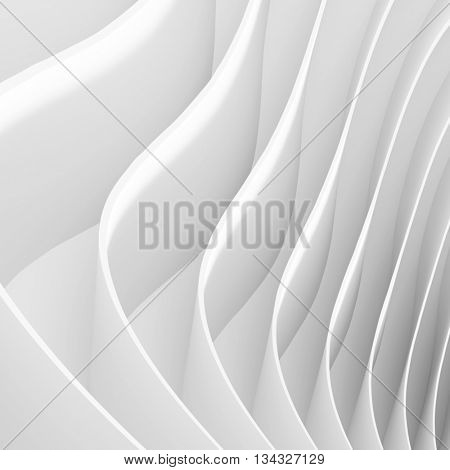 Abstract Architecture Background. White Wave Wallpaper. 3d Rendering of Minimal Geometric Shapes
