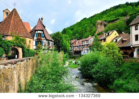 Picturesque View Of The Quaint Town Of Kayserberg, Alsace, France