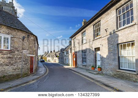 Architecture of the Corfe Castle village in County Dorset, UK