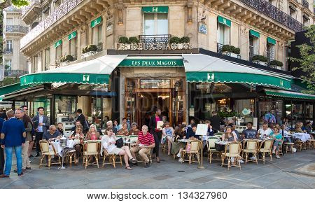 Paris France-June 09 2016 : The famous cafe Les Deux magots located in parisian Saint Germain des Pres district.It had ben frequented byErnest Hemingway Pablo Picasso...