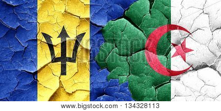 Barbados flag with Algeria flag on a grunge cracked wall