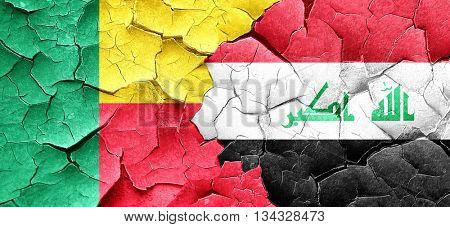 Benin flag with Iraq flag on a grunge cracked wall