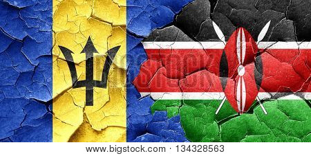 Barbados flag with Kenya flag on a grunge cracked wall