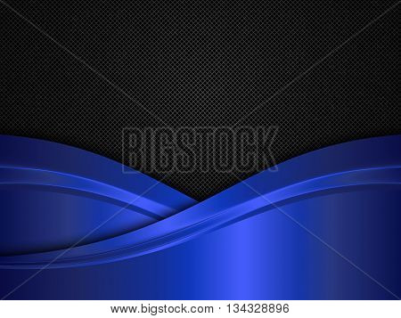 Metal background with blue waves, Black and blue metallic background