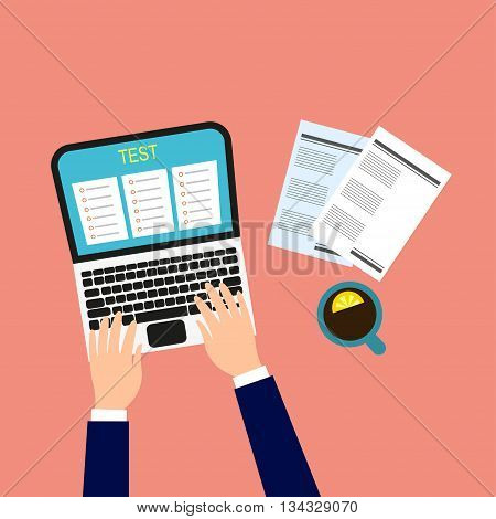 Online test. Vector illustration Man performs an online test. The process of passing the online test. Flat design