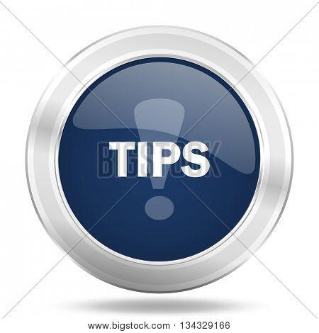 tips icon, dark blue round metallic internet button, web and mobile app illustration