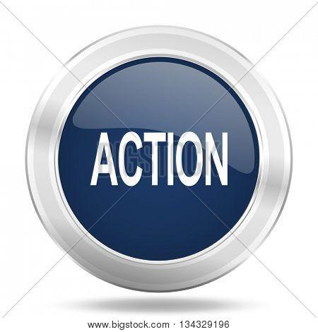 action icon, dark blue round metallic internet button, web and mobile app illustration