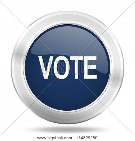 vote icon, dark blue round metallic internet button, web and mobile app illustration
