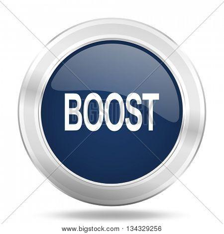 boost icon, dark blue round metallic internet button, web and mobile app illustration