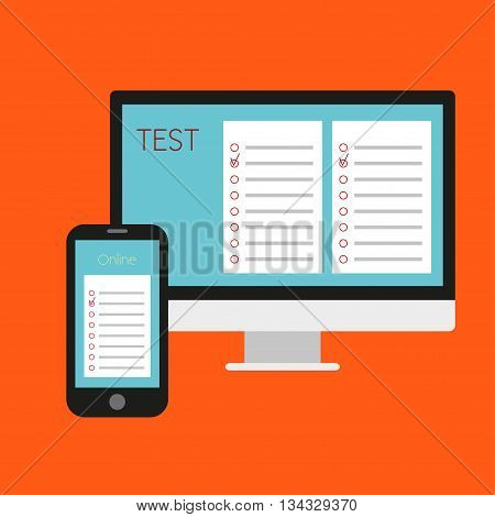 Online test. Vector illustration Online test. Computer online test and the cellphone with the questionnaire. Flat design