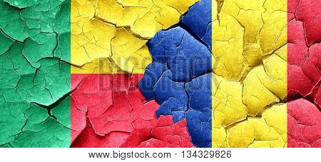 Benin flag with Romania flag on a grunge cracked wall