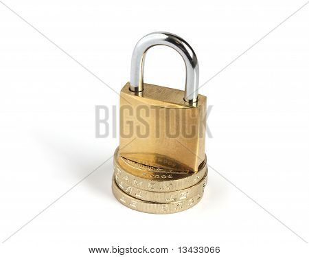 Padlock On Top Of Coins