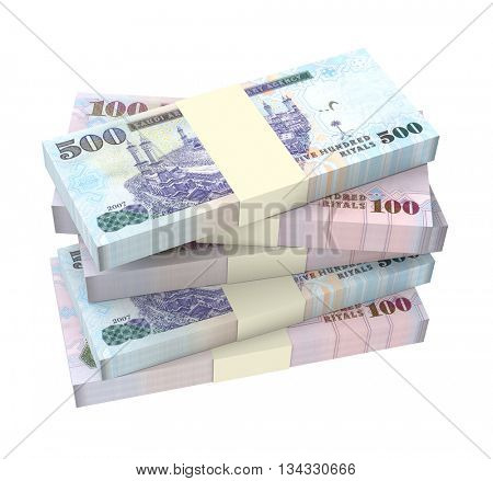 Saudi Arabia rials bills isolated on white background. 3D illustration.