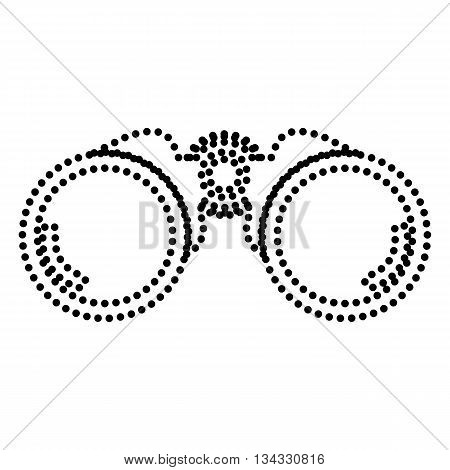 Binocular sign illustration. Dot style or bullet style icon on white.