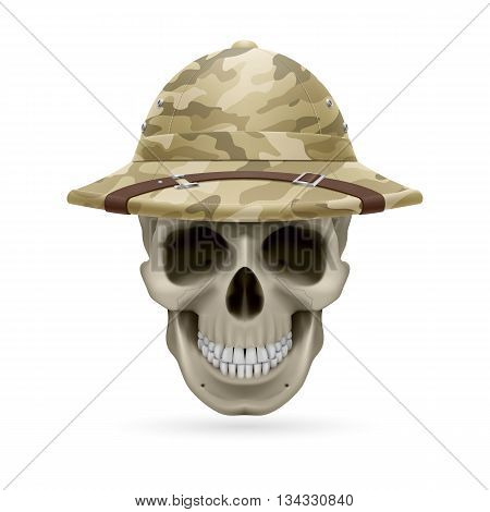 Cork camouflage hat on skull isolated on a white background