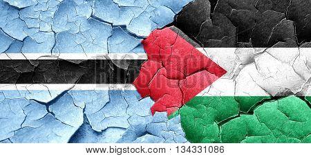 Botswana flag with Palestine flag on a grunge cracked wall