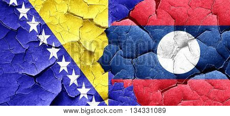 Bosnia and Herzegovina flag with Laos flag on a grunge cracked w