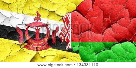 Brunei flag with Belarus flag on a grunge cracked wall