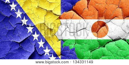 Bosnia and Herzegovina flag with Niger flag on a grunge cracked