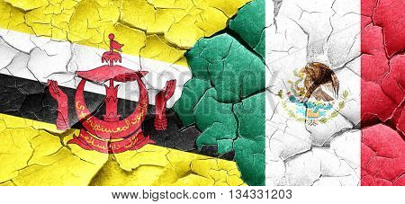 Brunei flag with Mexico flag on a grunge cracked wall