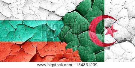 bulgaria flag with Algeria flag on a grunge cracked wall