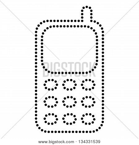 Cell Phone sign. Dot style or bullet style icon on white.
