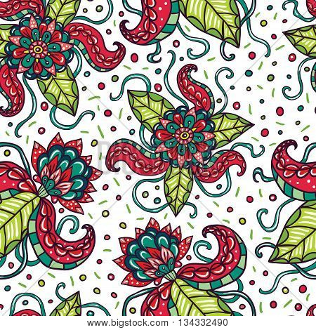 Fictional flowers with tentacles white seamless pattern.