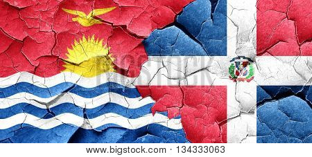 Kiribati flag with Dominican Republic flag on a grunge cracked w
