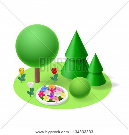 Nature flat isometric element. Forest Lawn flowerbed flowers