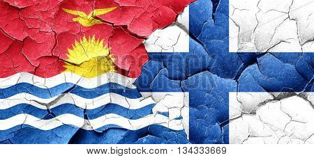 Kiribati flag with Finland flag on a grunge cracked wall