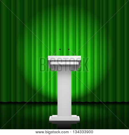 Tribune for the performance of speech on a green background