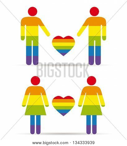 gay couples men and woman with rainbow colors