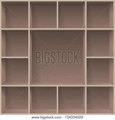 Bookshelves. Illustration for creative design programms template