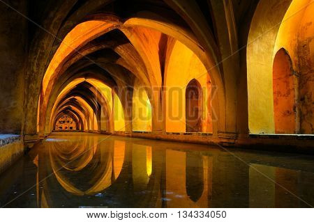 Royal Baths At The Alcazar Of Sevilla, Spain With Reflections