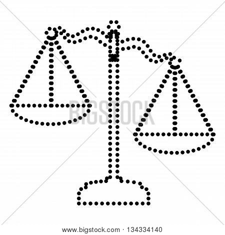 Scales of Justice sign. Dot style or bullet style icon on white.
