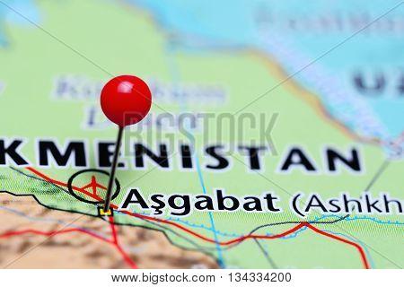 Ashgabat pinned on a map of Turkmenistan
