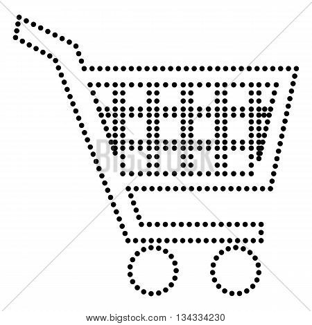 Shopping cart sign. Dot style or bullet style icon on white.