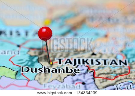 Dushanbe pinned on a map of Tajikistan