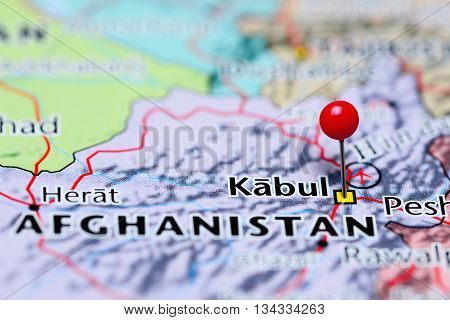 Kabul pinned on a map of Afghanistan