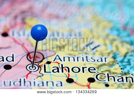 Lahore pinned on a map of Pakistan