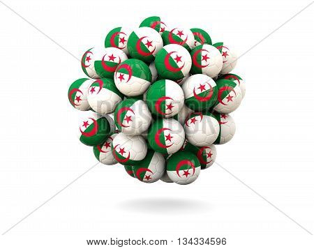 Pile Of Footballs With Flag Of Algeria