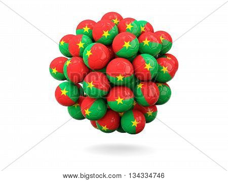 Pile Of Footballs With Flag Of Burkina Faso