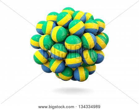 Pile Of Footballs With Flag Of Gabon