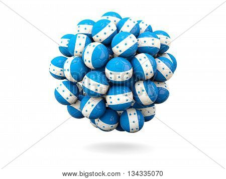Pile Of Footballs With Flag Of Honduras