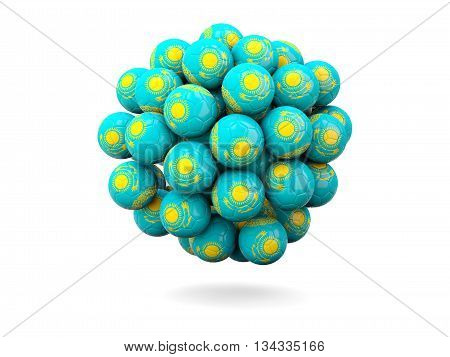 Pile Of Footballs With Flag Of Kazakhstan