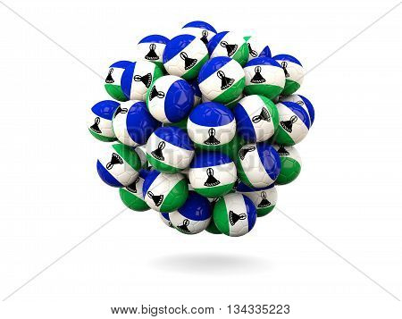 Pile Of Footballs With Flag Of Lesotho