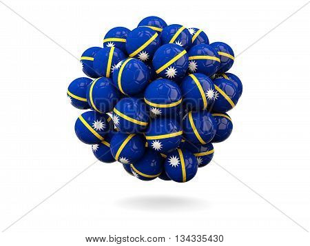 Pile Of Footballs With Flag Of Nauru