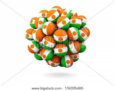 Pile Of Footballs With Flag Of Niger